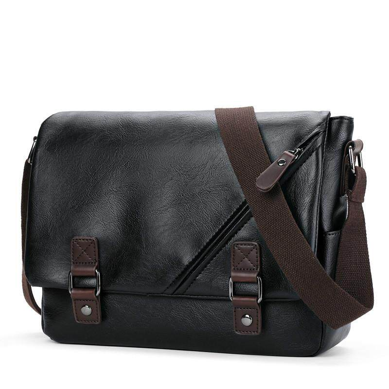 New Mens Leather Bag 2019 Fashion Mens Business Shoulder Bag Quality PU Leather Large Capacity Mens Casual Diagonal Package