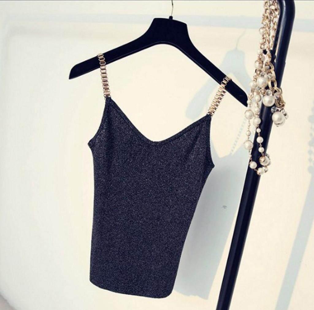 807fcc13ec53c caitian shop Fashion Korea Women V-Neck Knit Camisole Party Club Metal  Strap Shiny Glitter