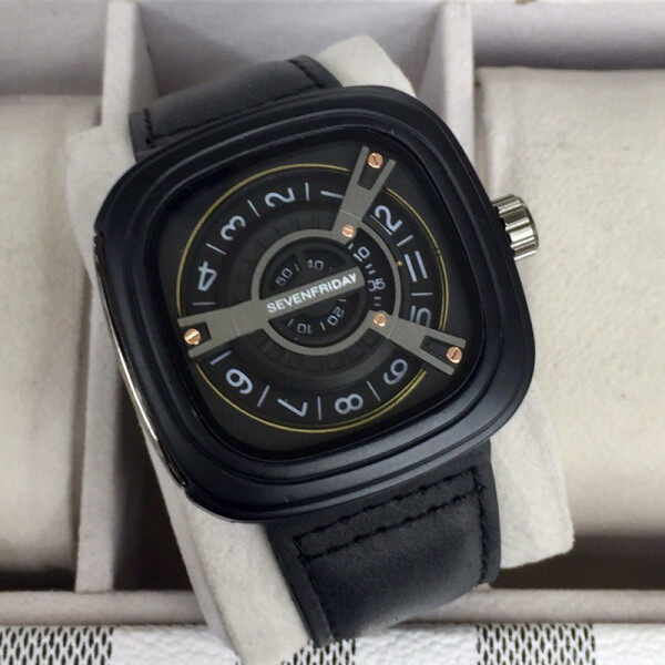 Hot Sale 7 seven_friday mens watch metal dial leather strap decorative screw waterproof square watch Malaysia
