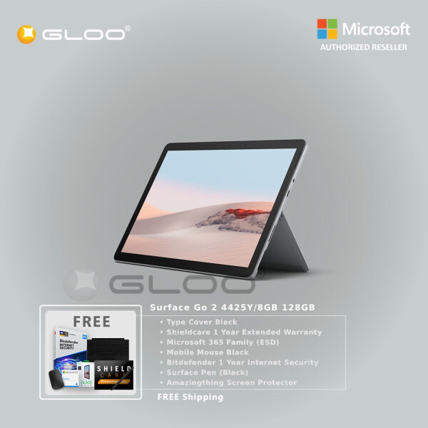 Microsoft Surface Go 2 4425Y/8GB 128GB + Surface Go Type Cover [Choose Color] + Shieldcare 1 Year Extended Warranty + Bitdefender 1 Year Internet Security + Pen [Choose Color] + Mobile Mouse Black + 365 Family ESD + Amazingthing Screen Protector Malaysia