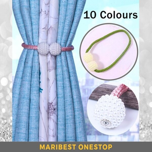 10 COLOURS 1 PAIR Magnetic Curtain Tier Rope Buckle Pearl Ball Design Tieback Clip Tali Pengikat Langsir