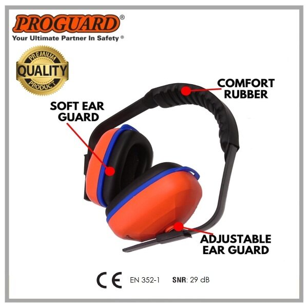PROGUARD 29db Lightweight Infinity Padded Headband Earmuff - Comply with EN 352-1