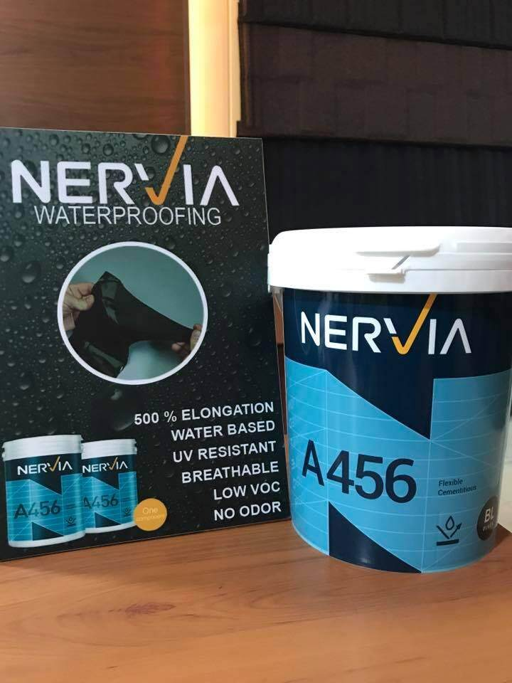 Nervia A456 Waterproofing Coating, an ideal waterproofing material for concrete roof & external wall.