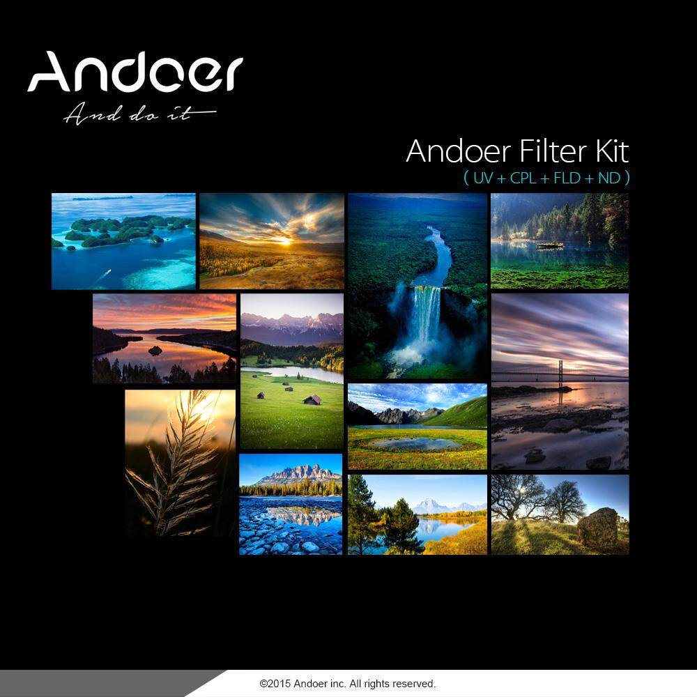 Andoer 77mm Uv+cpl+fld+nd(nd2 Nd4 Nd8) Photography Filter Kit Set Ultraviolet Circular-Polarizing Fluorescent Neutral Density Filter For Nikon Canon Sony Pentax Dslrs.