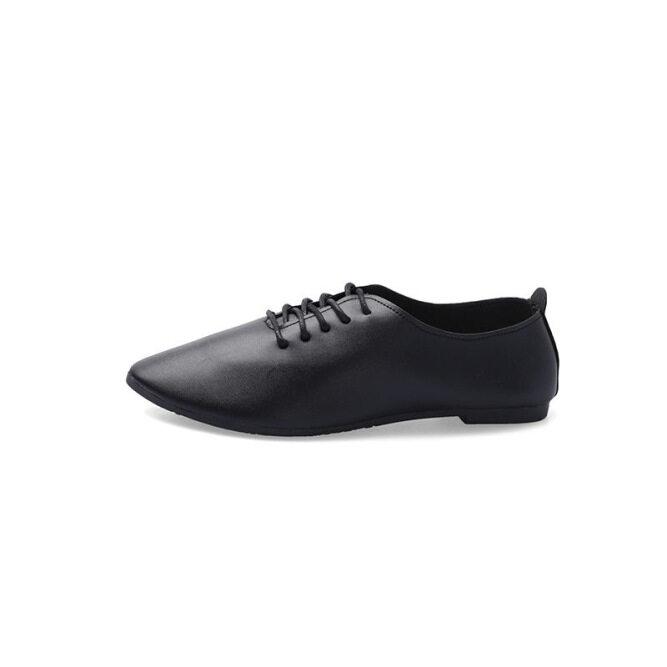 Giày Da Nhỏ, Giày Nữ Đơn Mùa Xuân Và Mùa Thu Mũi Nhọn Đế Bằng Thường Ngày Giày Hạt Đậu Sinh Viên Đế Mềm Thời Trang Phù Hợp Với Mọi Loại Giày Của Phụ Nữ giá rẻ