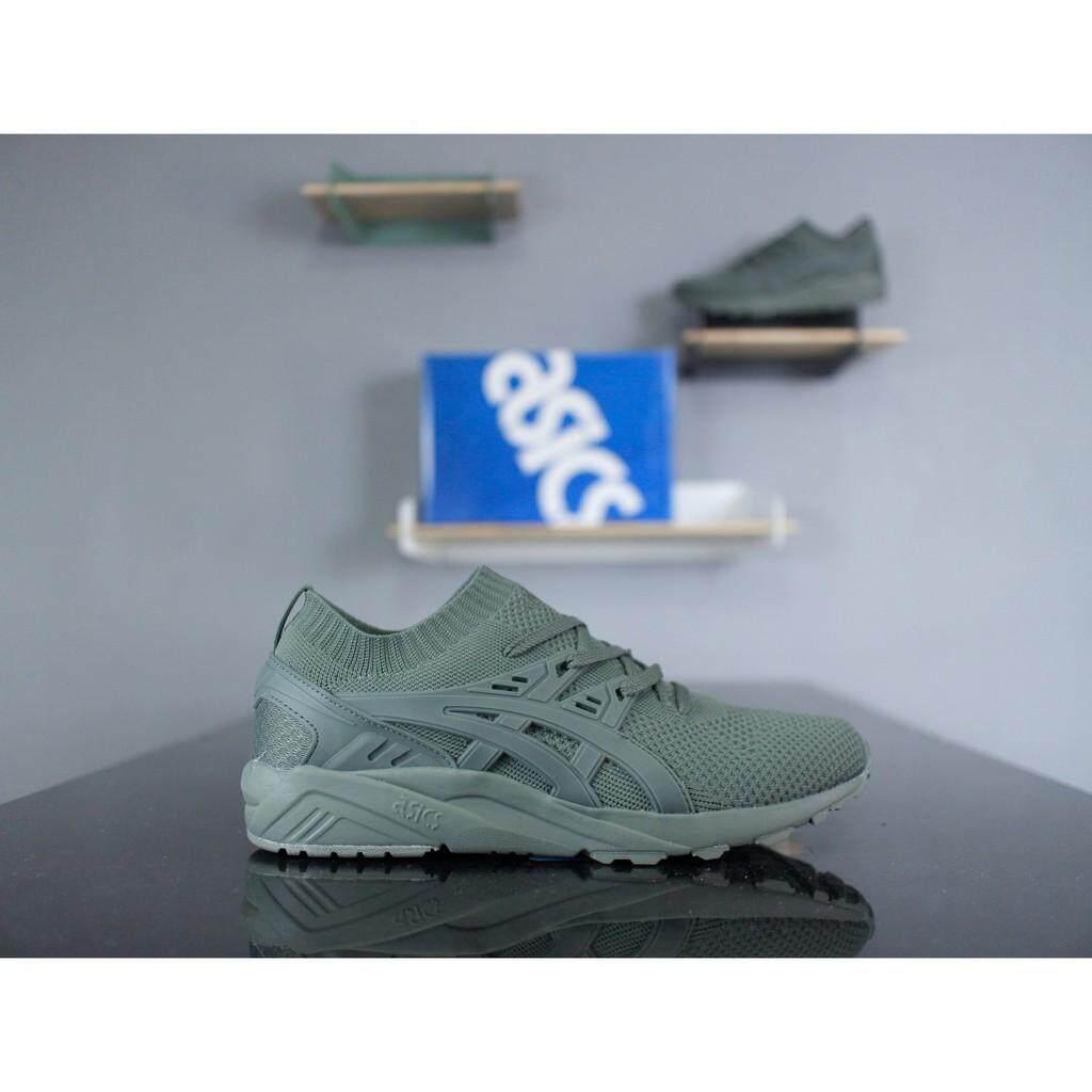 70282b2845a2 Asics GEL-Kayano Trainer Knit H705N amry green mesh sock mens womens sport  shoes