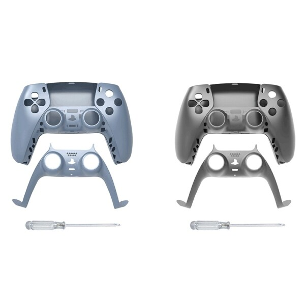 JYS 2 Pcs Game Controller Replacement Shell Gamepad Case Front Cover Rear Cover for Sony PS5 Handle Set, Gray & Blue