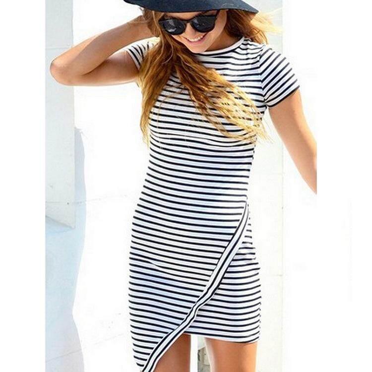 b8cc4eb8733 YOINS Simple Casual Round Neck Short Sleeve Irregular Hem Stripe Mini Dress