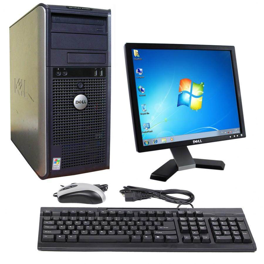 Full Set Pc Dell Optiplex 760 Tower Core 2 Duo/Ram2gb/Lcd 17  Square/Keyboard/Mouse/Window 7/Free Wifi Adapter