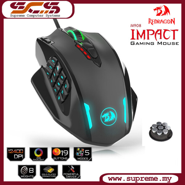 Redragon M908 IMPACT MMO Gaming Mouse up to 12,400 DPI High Precision Mouse for PC, 18 Programmable Buttons Malaysia