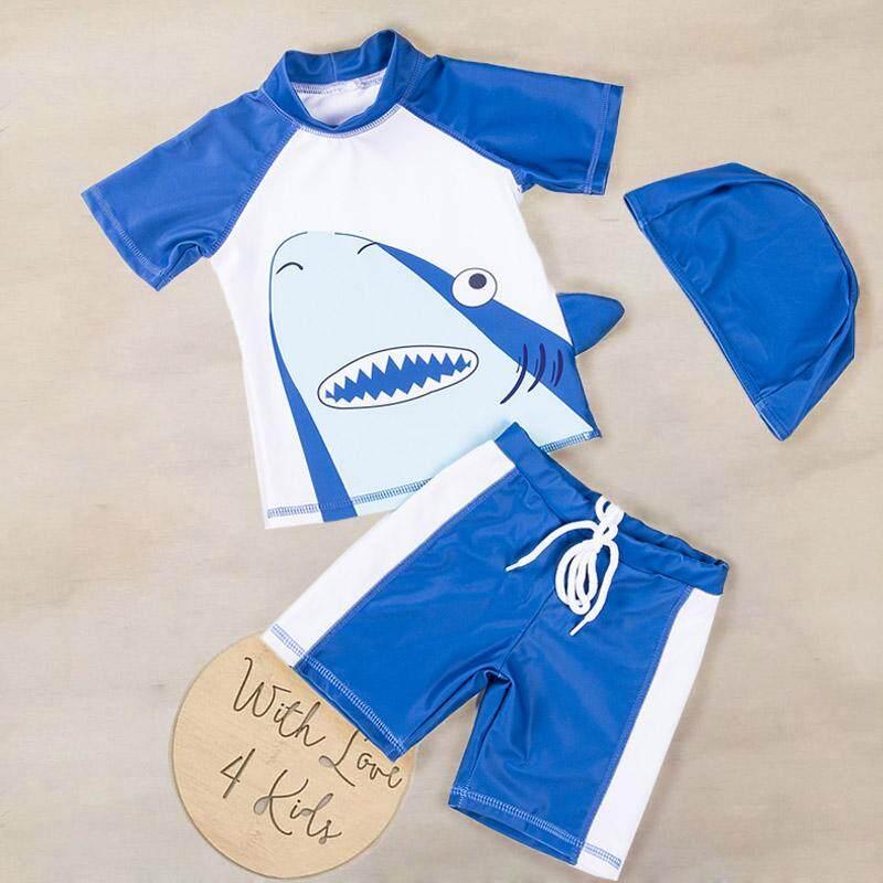 Bodysuits & One-pieces Rompers Boys Swimwear 3pcs Cartoon Animal Print Swimsuit Sun Protection Swimming Costume Swimwear Bathing Suit Beach Romper Beachwear