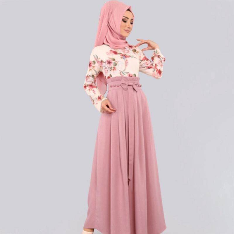 aa1cb7f5544 Muslimin Blouse Islamic Long Tops Floral Print Fashion Clothing
