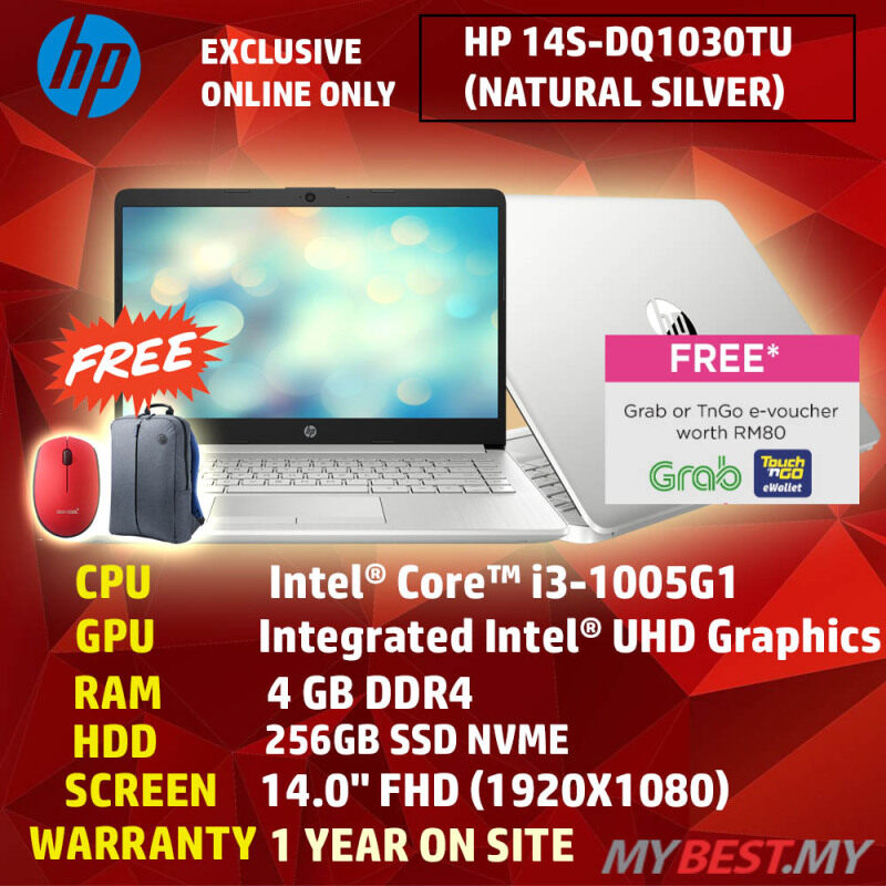 [ONLINE EXCLUSIVE] HP 14s-DQ1030TU (Natural Silver) 14 Laptop (i3-1005G1/4GB/256GB/14-Inch/Intel/WIN 10) Malaysia