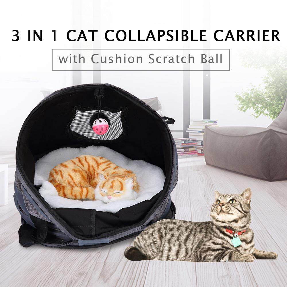 53c1d08eb5 3 in 1 Cat Collapsible Carrier with Cushion Scratch Ball Tunnel Foldable  Shelter for Cat Kitten