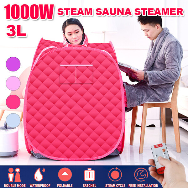Buy 1000W 3L Steaming Box Steaming Steaming Room Sauna Spa Room Home Body Slimming Detox Removal Chloasma Weight Loss Portable Double-pink Singapore