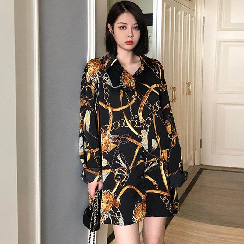 7d10677ddc6ad Retro Long Sleeve Chain Print Women Blouses Turn-down Collar Button Women  Long Blouses Casual Top