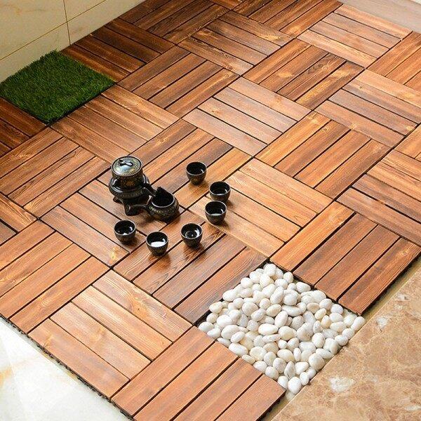 Thick Grid Lock DIY Interlocking Decking Floor Indoor Outdoor Patio Balcony Tiles Decoration Lantai Kayu 防腐木地板