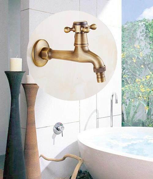 Sccot Retro สไตล์ครัวทองเหลืองแท้อ่างล้างหน้าในห้องน้ำก๊อกน้ำอ่างล้างหน้า Hot & Cold ท่อก๊อกผสม By Feng.1.