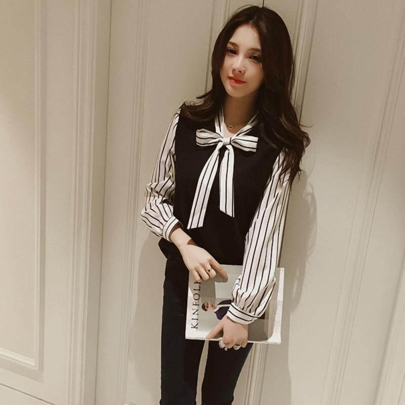 Women Casual V Neck Long Sleeve Striped Print Shirt Fashion Spitching Bowknot Chiffon Blouse Top