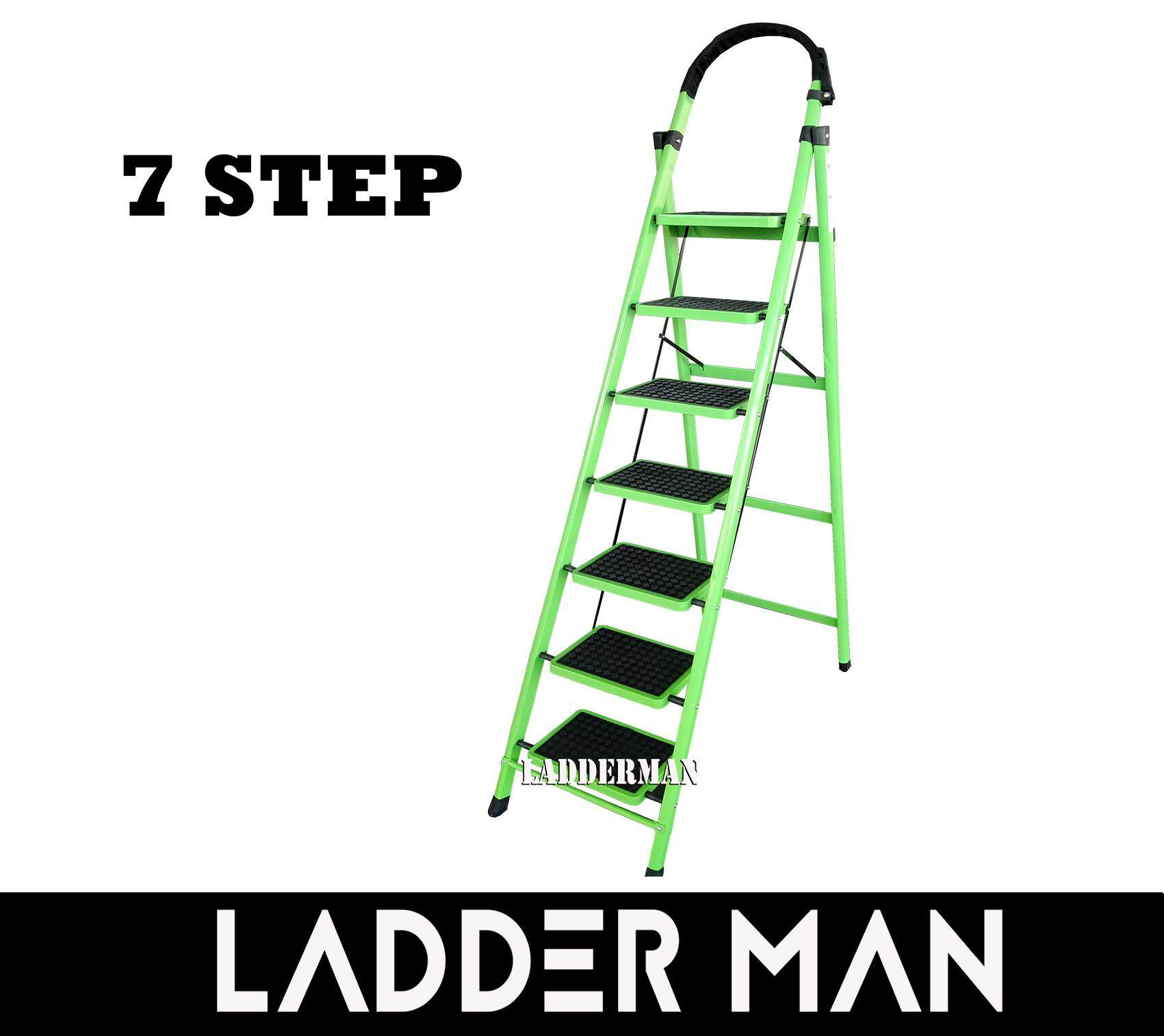 7 Step Medium Duty Foldable Steel Ladder With Hand Grip