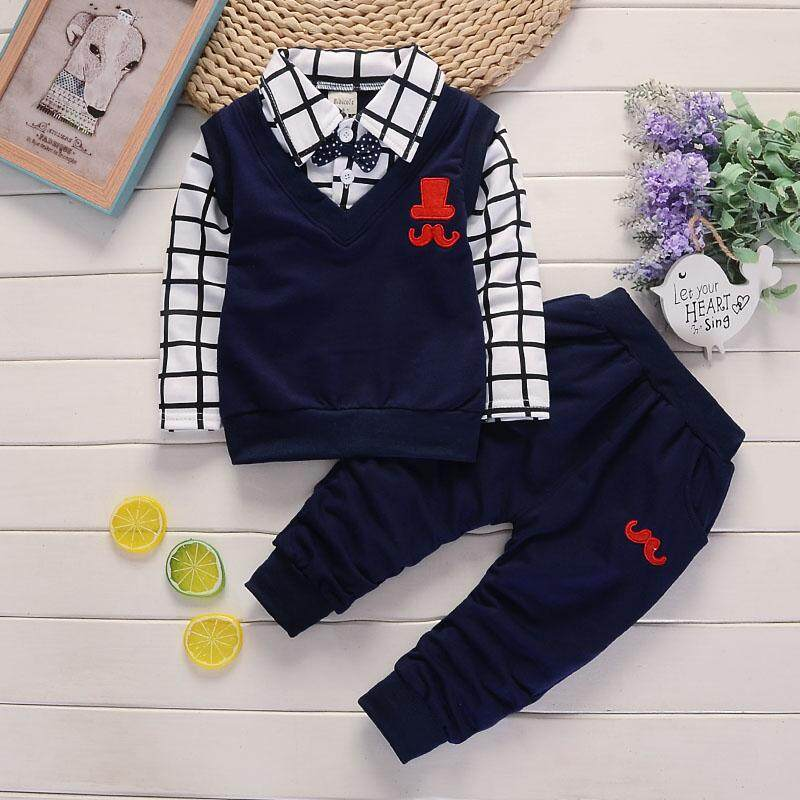 Ienens 2pc Kids Baby Boys Clothes Clothing Sets Infant Boy Shirt + Pants Outfits Suits Infant Boy Child Bow Tie Outfit Tracksuits By Ienens.
