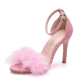 Womens Fluffy Stilettos Ankle Strap Heeled Sandals Open Toe Wedding Shoes thumbnail