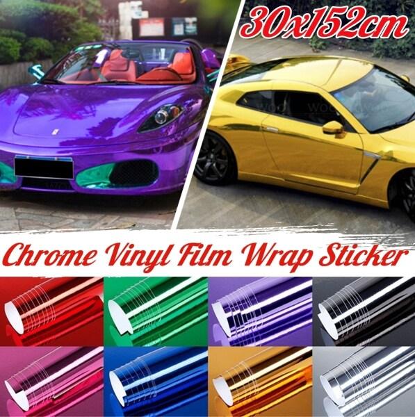 30X152Cm Chrome Vinyl Xe Bọc Sticker Decal Tấm Phim Trang Trí Sticker Không Thấm Nước