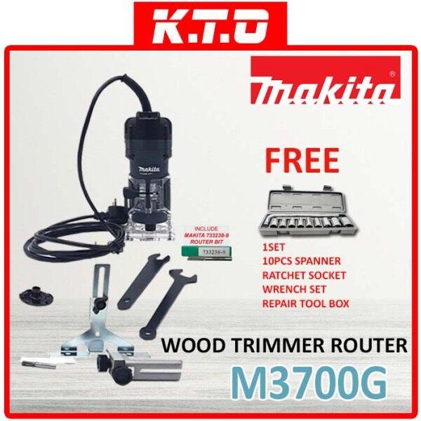 MAKITA M3700G WOOD TRIMMER ROUTER + 1SET 10PCS SPANNER RATCHET SOCKET WRENCH SET REPAIR TOOL BOX