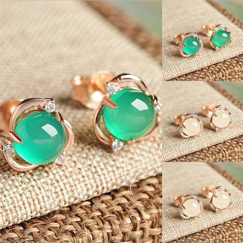 Women Gold Jade Light Green Stud Earrings Gold Filled Crown Jewelry