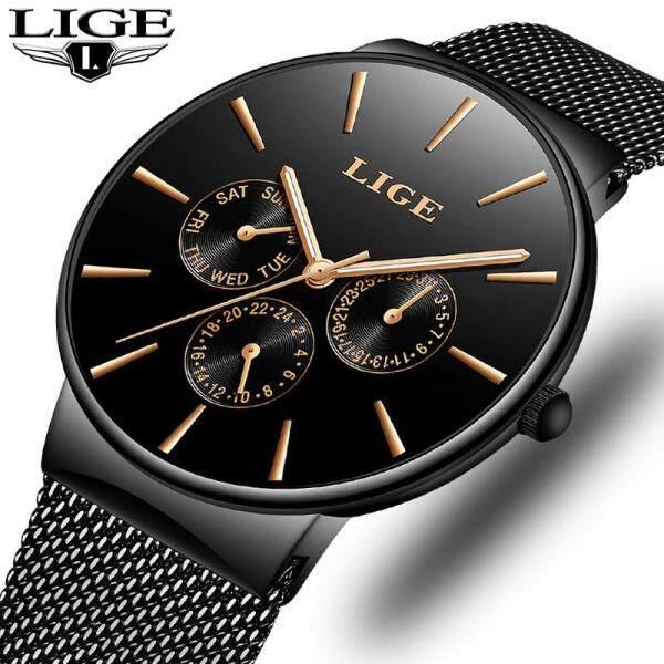 LIGE Mens Watches Fashion Sports Waterproof Ultra Thin Date Stainless Steel Mesh Analog Quartz Jam Tangan Lelaki Malaysia