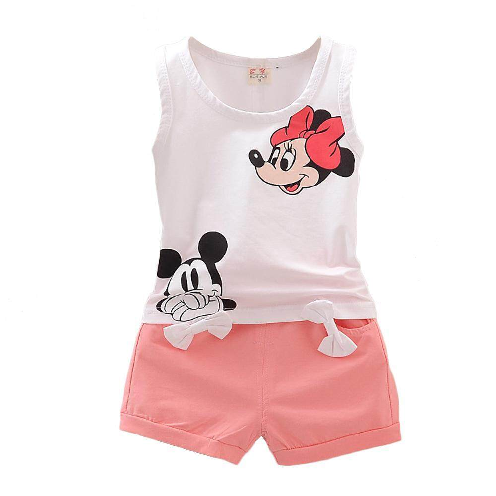 46bd165bc575 OnLook 2pcs Set Soft Cotton Micky Short Sleeve Tee Shirt Shorts Girls Kids  Brand Suit Children
