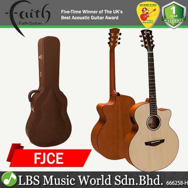 Faith FJCE Natural Jupiter Cutaway Electro Full Bodied Jumbo Solid Acoustic Electric Guitar Pickup with Case Malaysia