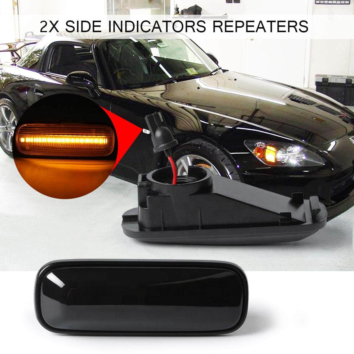 2X SMOKED Rear LED Side Marker Light Turn Signal Lamp Fit For Ford Mustang