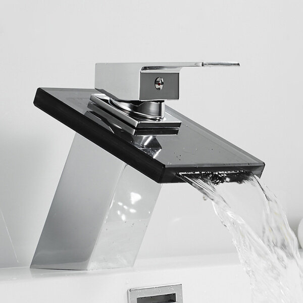 Waterfall outlet Solid Glass Waterfall Basin Faucet for Bathroom Black Deck Mount Square Vanity Sink Mixer Tap Single Lever Bathing Room Faucets