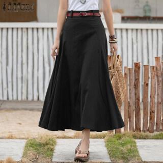 [Miễn Phí Vận Chuyển] ZANZEA Váy Nữ Cạp Cao Màu Trơn Mùa Hè Chân Váy Midi Chữ A Có Khóa Kéo Bên Hông thumbnail