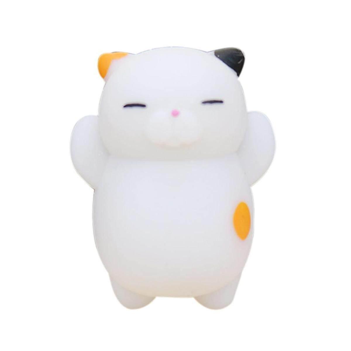 แมว Calico สีสันน่ารักน่ารักสัตว์มือข้อมือบีบ Fidget ของเล่น Squishy มินิความเครียดบีบบรรเทาตุ๊กตาชะลอตัวลูกบอลบีบเพื่อสุขภาพสีขาว By Hfqogjk.