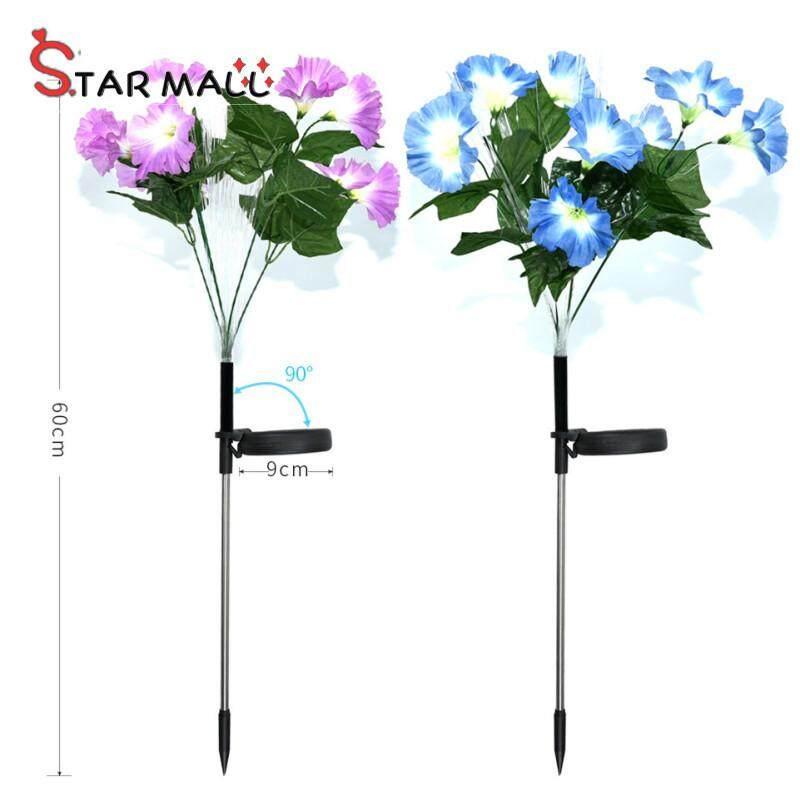 Star Mall 2Pcs LED Solar Powered Morning Glory Shape Lawn Lamp Colors(Blue+Purple)