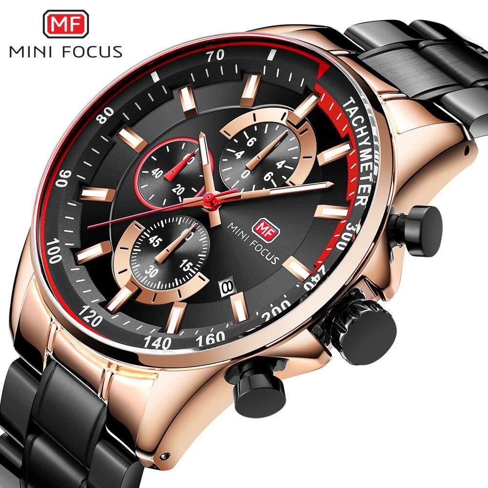 MINIFOCUS Luxury Brand Quartz Watches For Man Stainless Steel Fashion Mens Business Wristwatch Calendar Chronograph Male Waterproof Watch MF0218G Malaysia