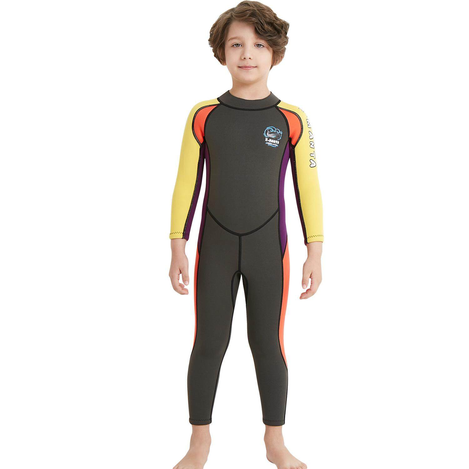7800c50b1a 2.5mm Wetsuit Skin Dive Swimming Suit For Winter Kids Boys Water Sports  clothes(Yellow