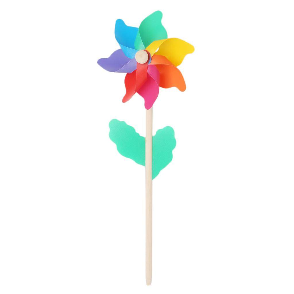 Hypo Household  Windmill Kid Toys Wood Stick Lawn Yard Garden Ornaments Colorful Outdoor Spinner