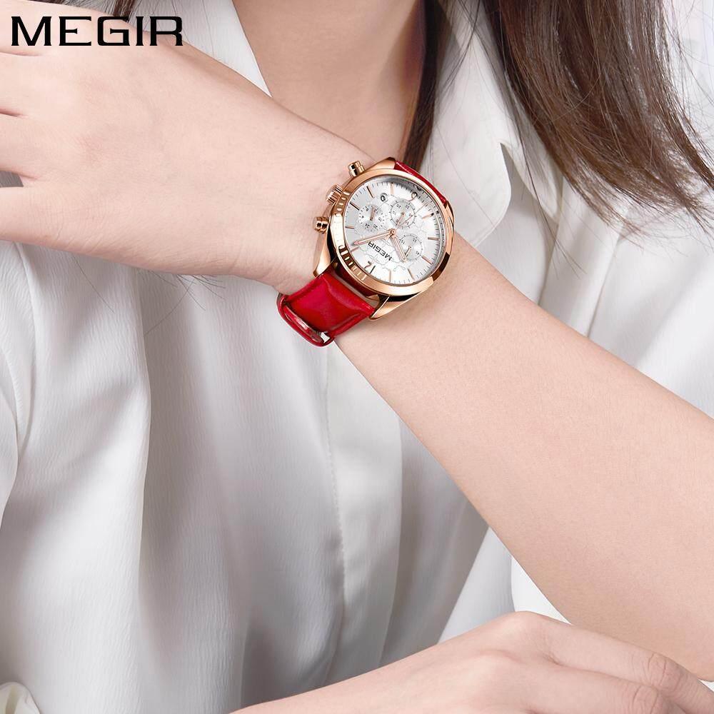e7824b2bcb9 Megir Women s Leisure Quartz Watches 24 Hours Leather Strap Waterproof  Chronograph Wristwatch Lady Relogios Femininos 2115