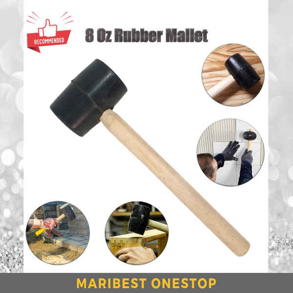 8oz Non-elastic Rubber Mallet Hammer For Tiles Mosaic Wood Works Bend Sheet Metals With Wooden Handle