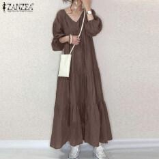 [Free Shipping] ZANZEA Đầm Maxi Dài Kaftan Abaya Xếp Tầng Tay Phồng Cổ Chữ V Cho Nữ