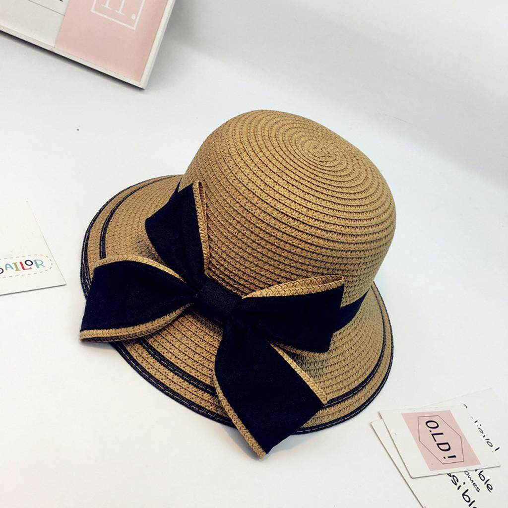 4f175061 Zapramoon Summer Parent-child Women Baby Kids Girl Beach Bow Straw Flat Brim  Sun Hat