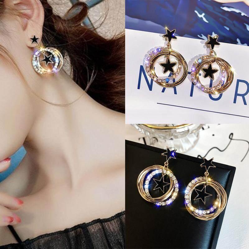 Crystalbeauty Anting Bulat Bintang Anting-Anting Menjuntai Anting Hoop Ornamen Aksesoris Anti Alergi Telinga 1 Pasang Fashion Kecantikan Perhiasan Memulihkan Cara Kuno
