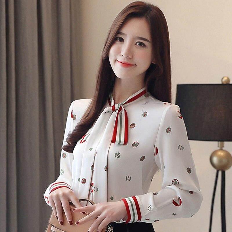 2019 Blus Musim Semi Mode untuk Wanita Blus Putih Sifon Slim Elegan Blus Berkerah Pita Polka