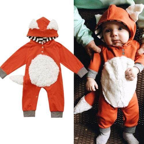 Romper for Newborn Baby Boy Girl Infant Toddler Kid Fox Long Sleeve Hooded Jumpsuit Outfit Clothes Costume Autumn Winter 0-2T