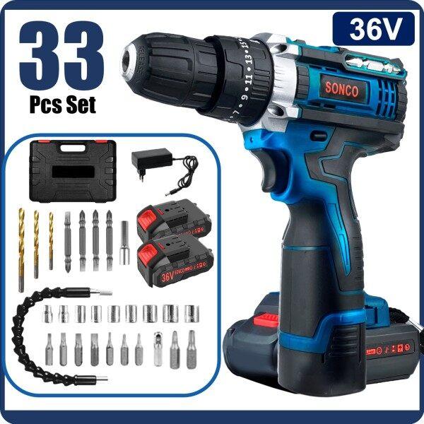SONCO 33pcs Set Cordless Impact Drill Screwdriver 2 Battery Hammer Drill 3 Mode 12v 18v 24v 36v 2 Speed Power Drill Hand Drill