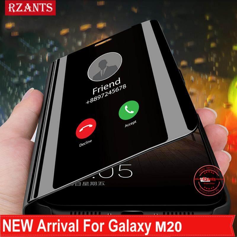 Rzants untuk Samsung Galaxy M20 Cover Case【mirror】ultra Tipis Melihat Smart Kulit Reflektif Sarung Telepon Genggam