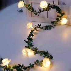 5M 50 LEDs Mô Phỏng Năng Lượng Mặt Trời Lá Xanh Mây Hoa Hồng Vine LED Light String Vòng Hoa Trang Trí Chất Lượng Cao